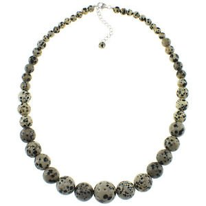"6-16mm Dalmatian Jasper 20"" Beaded Strand Journey Necklace"
