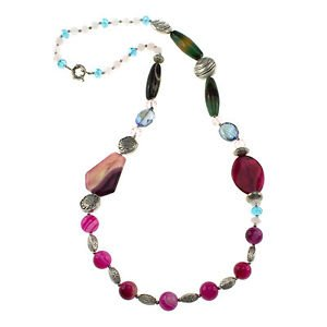 """Pink Agate Rose Quartz Glass & Silver Antique Beads 33"""" Fancy Strand Necklace"""