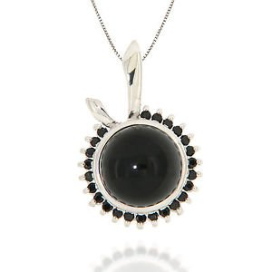 """10mm Round Black Onyx Black Spinel 925 Sterling Silver 18"""" Pendant Necklace"""