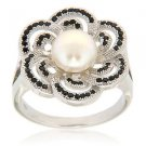 7-8mm Button Cultured Freshwater Pearl Black Spinel 925 Sterling Silver Ring