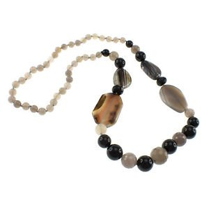 Grey and Black Agate Beaded Strand 30 Inches Long Fancy Endless Necklace