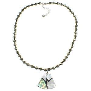 "6mm Round Pyrite Cultured Abalone Shell Pearl 17"" Beaded Pendant Necklace"