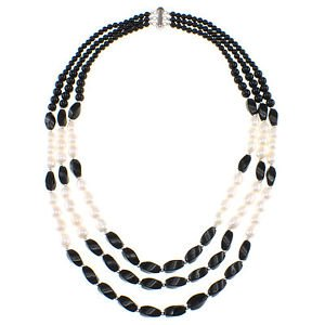 """3 Row Black Agate and White Cultured Freshwater Pearl 18"""" Beaded Necklace"""