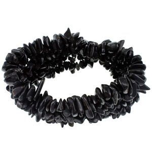 3mm-7mm Chips Black Agate Beaded Strand 7.5 Inches Long Stretch Bracelet