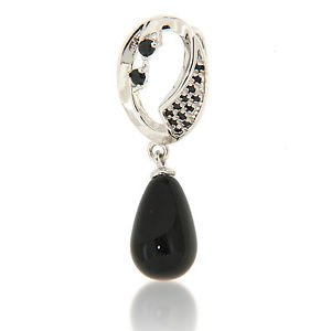 """8x12mm Drop Black Onyx Black Spinel 925 Sterling Silver 18"""" Pendant Necklace"""