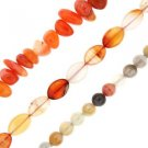 "Carnelian Nuggets Oval Botswana Agate Round Set of 3 15"" Bead Strands"