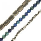 """Pyrite Nuggets Flat Square Azurite Round Set of 3 15"""" Bead Strands"""