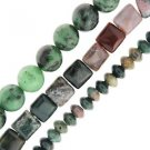 "Ruby Zoisite Round Fancy Jasper Square Roundell Set of 3 15"" Bead Starnds"