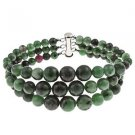 "6-10mm Round Ruby Zoisite 7.5"" Three Row Beaded Strand Journey Bracelet"