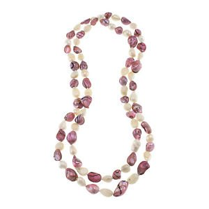 "10-11mm Nuggets Pink White Cultured Freshwater Pearl 45"" Strand Endless Necklace"