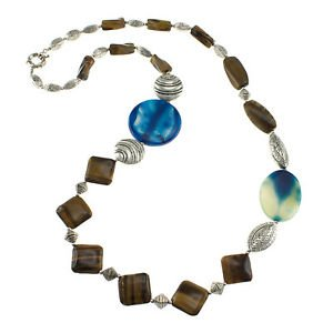 """Yellow Tiger Eye Blue Agate Silver Antique Beads 32"""" Fancy Strand Necklace"""