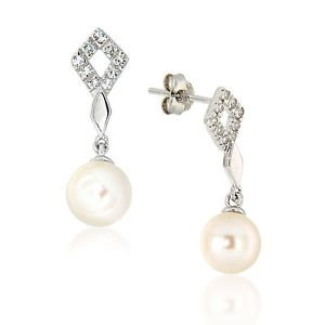 7-8mm Round White Cultured Freshwater Pearl White Topaz Sterling Silver Earrings
