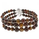 "6-10mm Round Yellow Red Tiger Eye 7.5"" Three Row Beaded Strand Journey Bracelet"