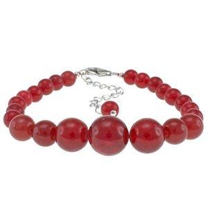"6-12mm Round Dyed Red Jade 6.5"" Beaded Strand Journey Bracelet"