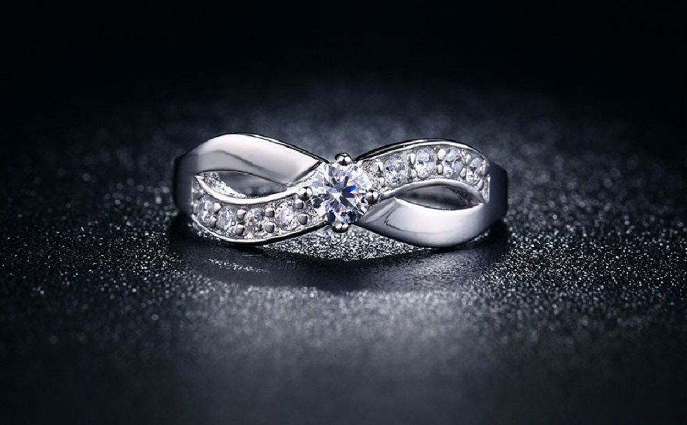 18K White Gold Plated X letter jewelry ring for women Cubic zirconia diamond & crystal ring (7)