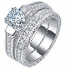 Luxury 18K White Gold Plated Bling Clear Silver Cubic Zirconia Couple Party Lover's Ring (8)