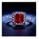 Luxury White Gold Plated Ruby Square Simulate AAA Cubic Zirconia Engagement Ring(Size 7)