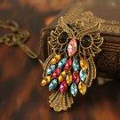 Retro Vintage Colorful Rhinestone Bronze Owl Long Chain Jewelry Pendant Necklace