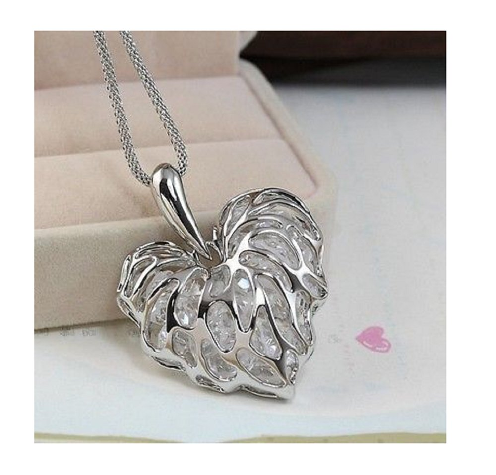 Hollow Silver Plated Heart Crystal Rhinestone Pendant Long Chain Necklace