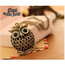 Vintage Cute Owl Small Pendant Long Chain Necklace Women's Trendy Fashion Necklace