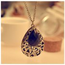 Long Chain Crystal Flower Water Drop Necklaces Pendants Statement Necklace