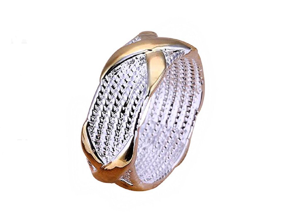 Women's X Silver Plated Golden Wedding Ring Fashion Jewelry (7)