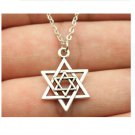 Antique Bronze, Antique Silver Star of David Pendant Necklace (Antique Silver Plated)