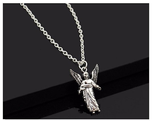 "Vintage Silver Cute Angel Love Pendant 18"" Long Necklace"