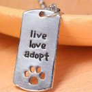 "Silver Plated Rectangular Dog Tag Style Pendant Necklaces"" Live Love Adopt"" Pet Rescue Paw Print Tag"