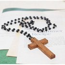 Black Beads Wooden Cross Necklace Sweater Chain