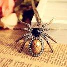 Antique Gold Plated Retro Vintage Cubic Zirconia Spider Chain Pendant Necklace