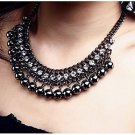 Vintage Statement Black Choker Chain Necklaces Jewelry Crystal Bead Necklace For Women