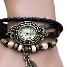 Retro Butterfly Leaf Fashion leather Bracelet Water Quartz Hand Clock Women Wrist Watch
