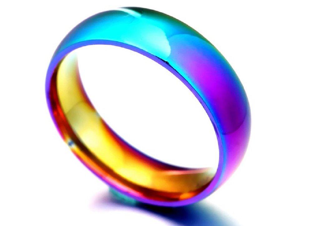 Rainbow Colorful Ring Titanium Steel Wedding Band