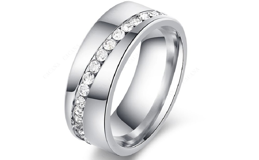 Stainless Steel Rings For Women Slash a Line of Cubic Zirconia Diamond Fashion Jewelry
