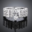 Brilliant Romantic Inlaid Stone Silver Plated Wedding Ring For Women