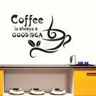 Coffee Is Always A Good Idea Kitchen Dining Hall Vinyl Waterproof Wallpaper Home Decor Wall Sticker