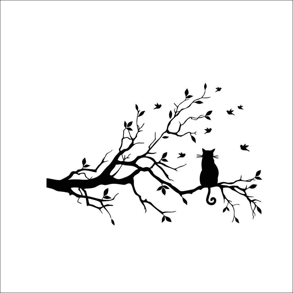 Cartoons Minimalist Style Cat On Long Tree Branch Wall Sticker