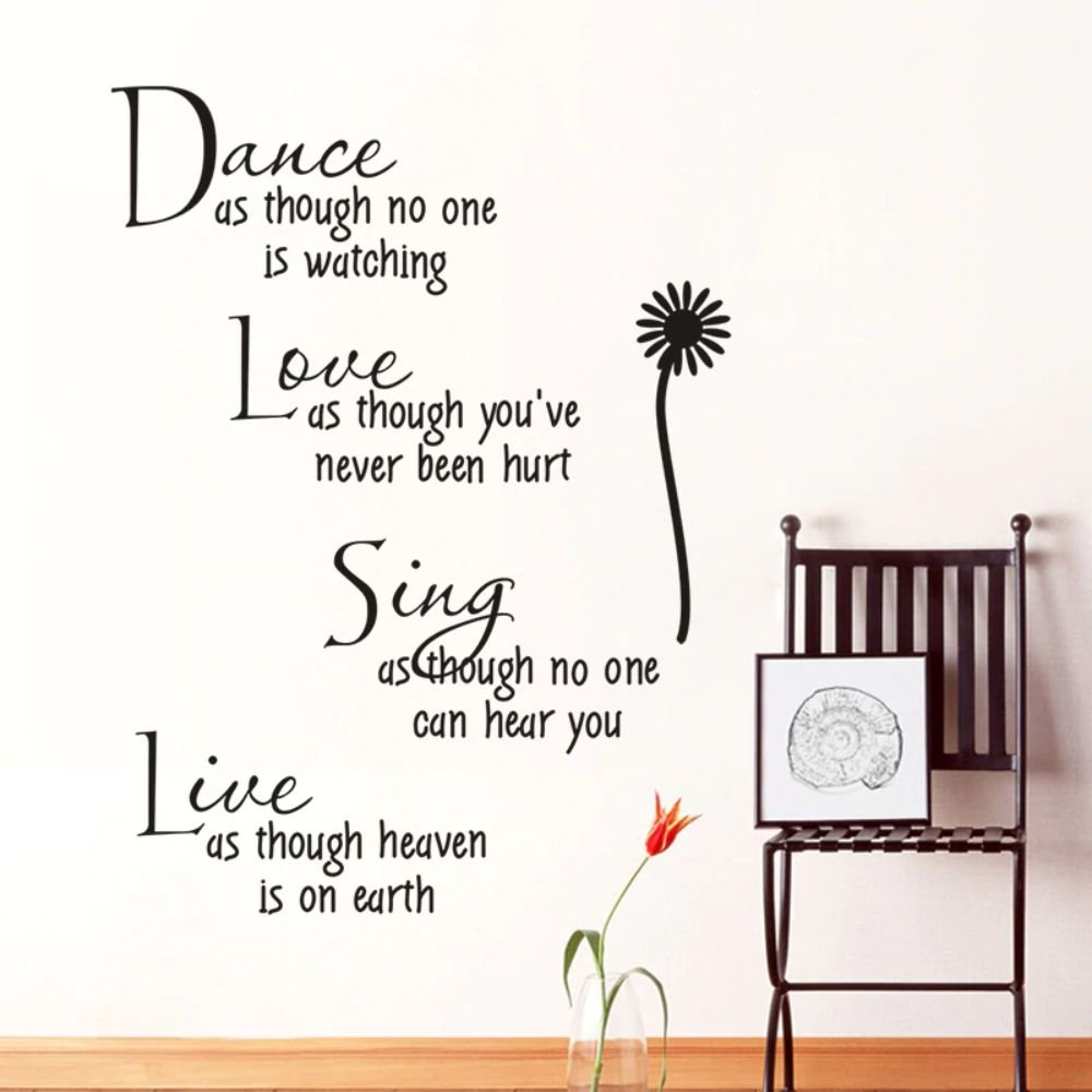 Dance As Though No One Is Watching Love Quote Wall Decal Stickers