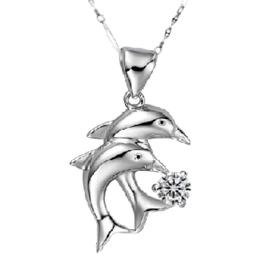 Elegant Silver Dolphin's Love Double Dolphins Jump Pendant Necklace