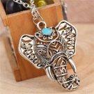 Bohemian Style Antique Silver Ethnic Long Blue Stone Elephant Pendant Necklace