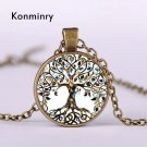 Classic Silver Bronze Chain Tree Of Life Pattern Art Glass Dome Pendant Necklace For Men Women