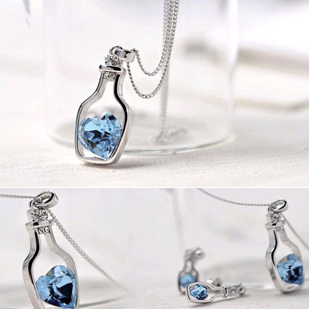 Fashion Blue Heart Crystal Popular Style Love Drift Bottles Pendant Necklace