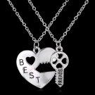 Fashion Double Chain Best Friend Broken Heart Key Pendant Necklace For Women