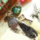 Fashion Vintage Love Heart Peacock Feather Pattern Leaves Key Shape Tassel Pendant Necklace