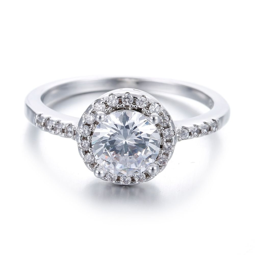 Fashion Round Shape Fine Engagement Silver Color Ring For Women