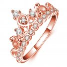Fashion Rose Gold silver color metal CZ Zirconia Princess Crown Shaped Finger Ring For Women (8)