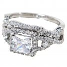 2Pcs Silver Plated Cubic Zircon Crystal Solitaire W/ Accents Rings Set For Women (8)