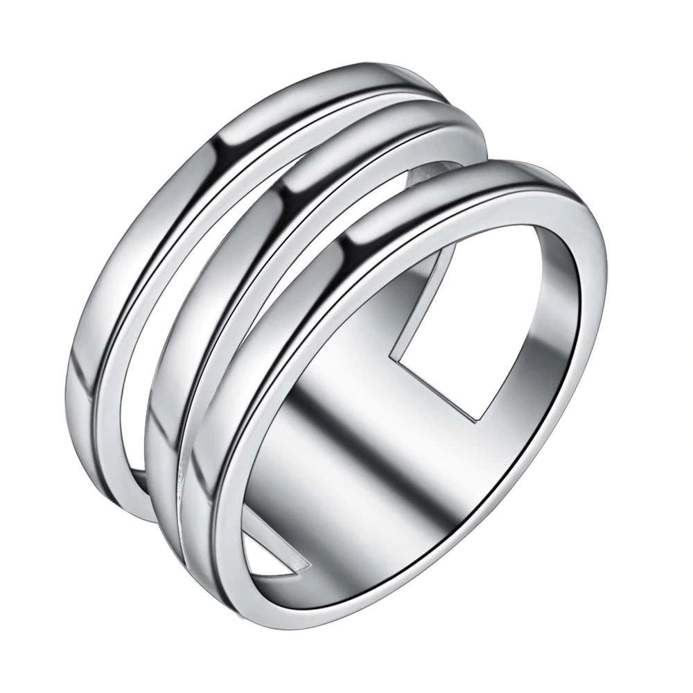 Classic Three Circle 925 Silver Plated Ring For Women (9)