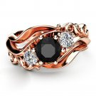 Inlaid With Hollow Flower Rose Gold Black Rhinestone Ring for Women (8)